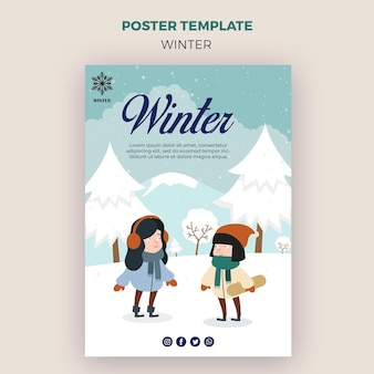 Poster template for winder with children outdoors