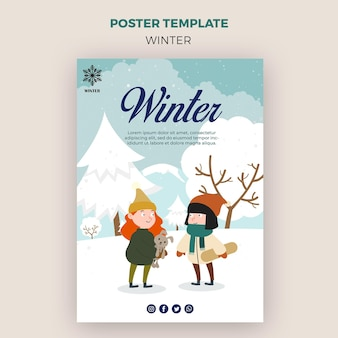 Poster template for winder with children