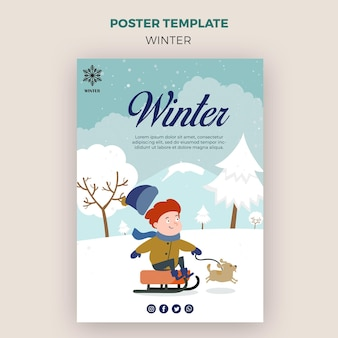 Poster template for winder with kid and dog
