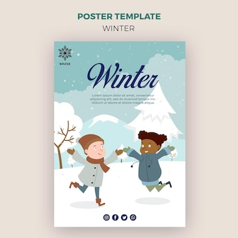 Poster template for winder with kids having fun