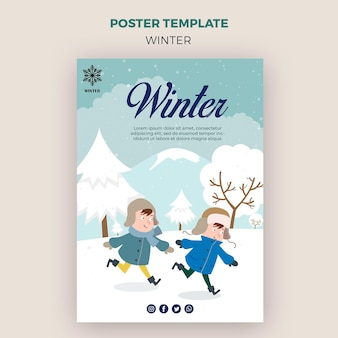 Poster template for winder with kids