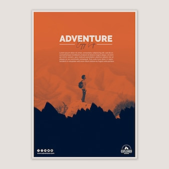 Poster template with adventure concept