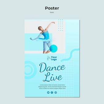 Poster template with ballerina dancer