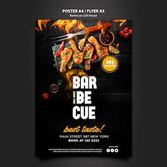 Poster template with barbeque concept