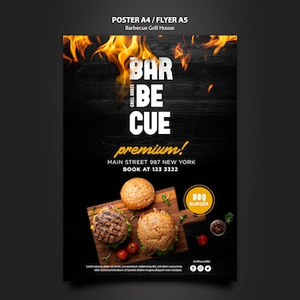 Poster template with barbeque design