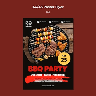 Poster template with barbeque theme