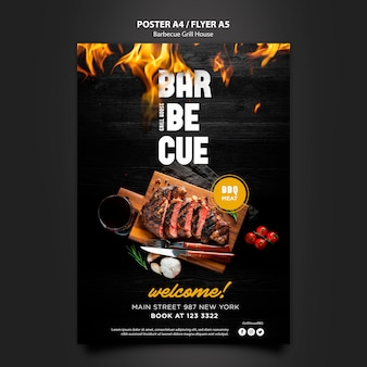 Poster template with barbeque