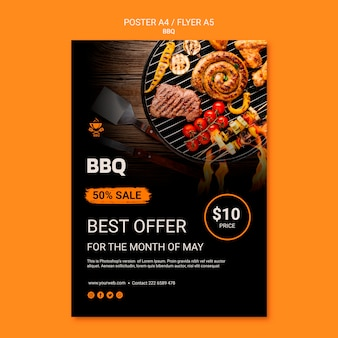 Poster template with bbq concept