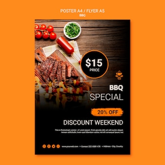Poster template with bbq theme
