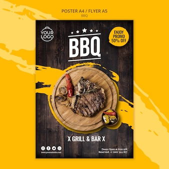 Poster template with bbq