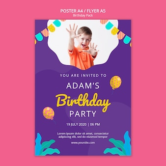 Poster template with birthday party