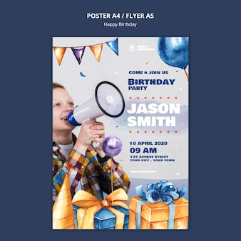 Poster template with birthdday party theme