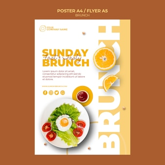 Poster template with brunch concept