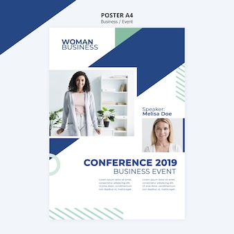 Poster template with business woman concept
