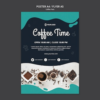 Poster template with coffee design