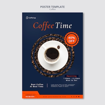 Poster template with coffee