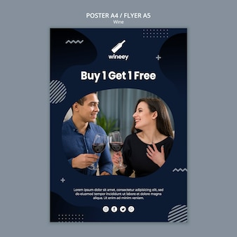 Poster template with couple for winery
