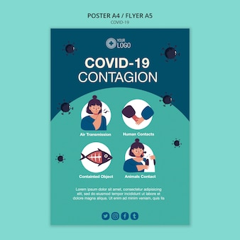 Poster template with covid 19 theme