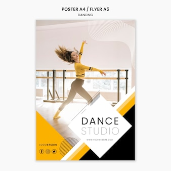 Poster template with dance studio theme