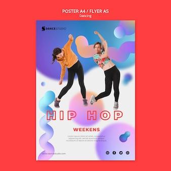 Modello di poster con tema di danza