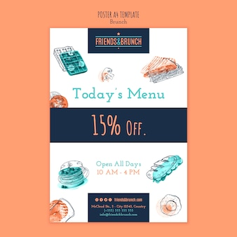 Poster template with discount for brunch restaurant
