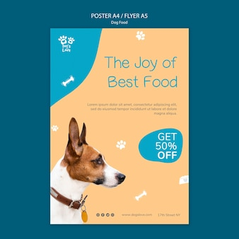 Poster template with dog food theme