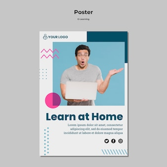 Poster template with e-learning theme