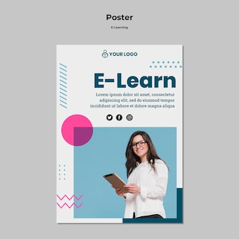 Poster template with e-learning