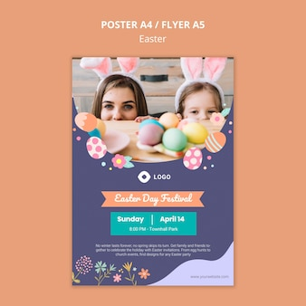 Poster template with easter day concept