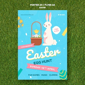 Poster template with easter day design