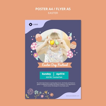 Poster template with easter day theme