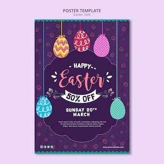 Poster template with easter sales