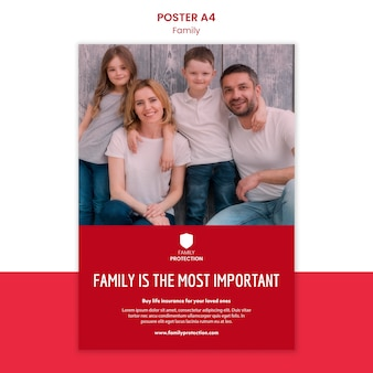 Poster template with family
