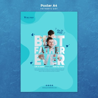 Poster template with fathers day concept