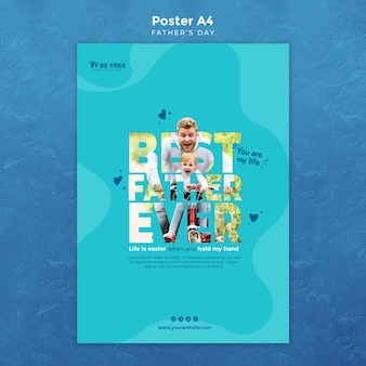 Poster template with fathers day design