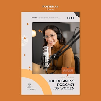 Poster template with female podcaster and microphone