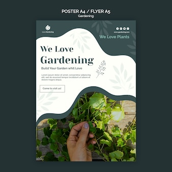 Poster template with gardening