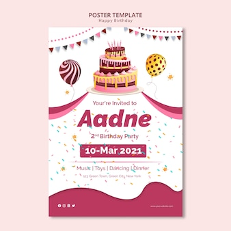Poster template with happy birthday theme