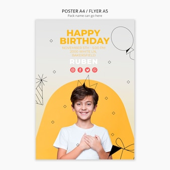 Poster template with happy birthday