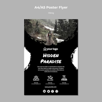 Poster template with hiking concept