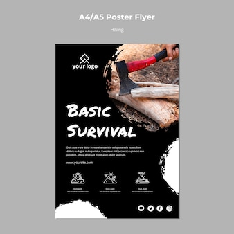 Poster template with hiking theme