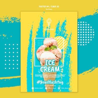 Шаблон постера в стиле мороженого