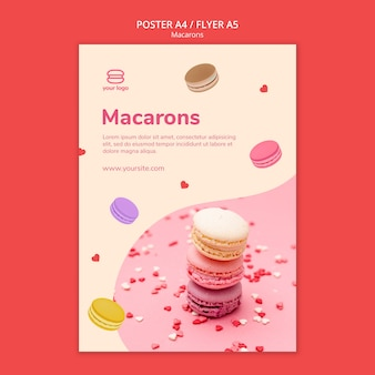 Poster template with macarons Free Psd