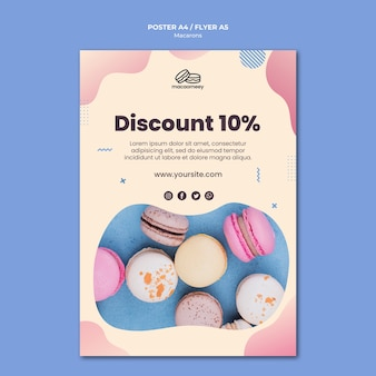Poster template with macarons