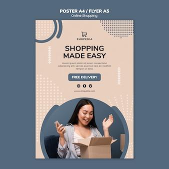 Шаблон плаката с концепцией онлайн покупок