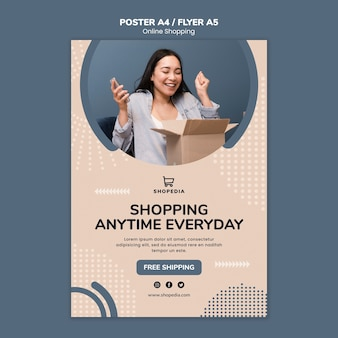Poster template with online shopping theme Free Psd