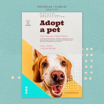 Шаблон постера с темой усыновления домашних животных