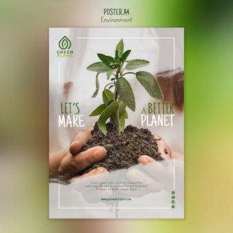 Poster template with plant held in hands