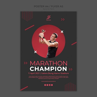 Poster template withsport and tech