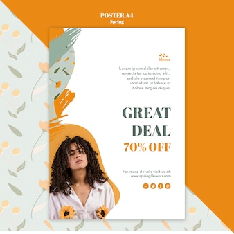Poster template with spring sale